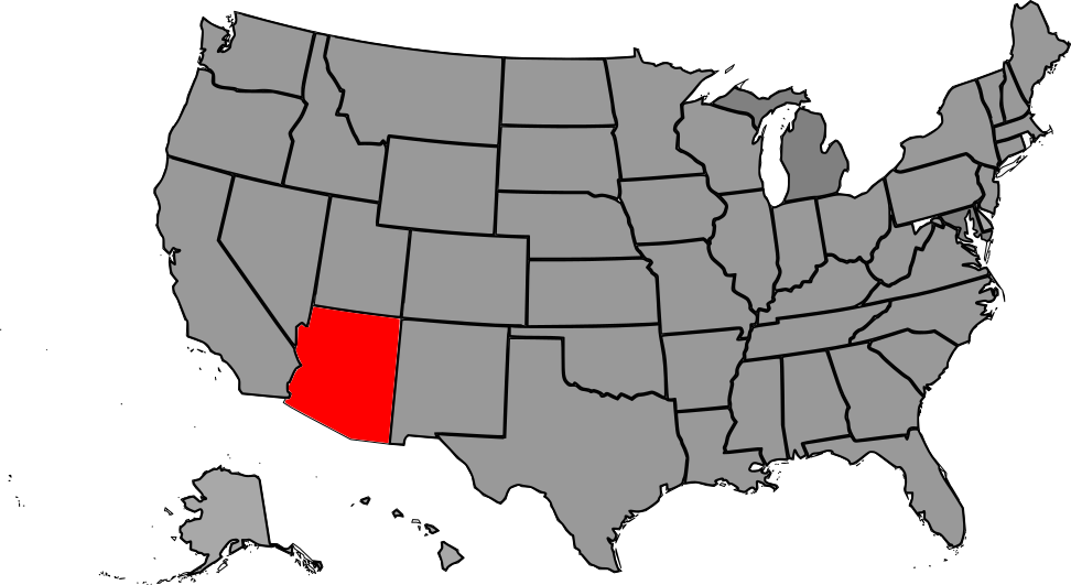 Map of the United States with Arizona colored